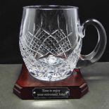 Extra Large Personalised Lead Crystal Trophy Tankard with Base ref LBTTB